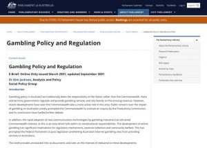 Gambling Policy and Regulation
