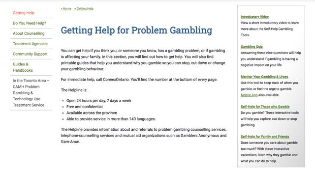 Getting Help for Problem Gambling